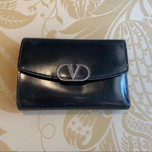 Valentino Black Trifold Leather Wallet